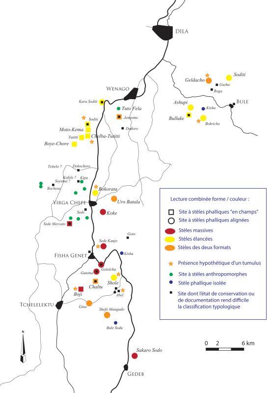 Figure 1 – Distribution des sites à mégalithes en pays gedeo avec, pour chacun des sites à stèles phalliques documentés, la représentation des spécificités typologiques du site et morphométriques des stèles