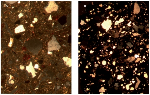 Figure 19 – A: Petrological thin section from the core of the Olokun head showing a vitrified fabric, with abundant poorly-sorted quartz and micritic calcareous fragments infilling the voids of the paste. (XPL, 5.4 mm field of view). B: Petrological thin section from the core of the British Museum head showing a non-calcareous and slightly micaceous fabric with poorly-sorted quartz and abundant opaques and iron oxides. (XPL, 0.87 mm field of view)