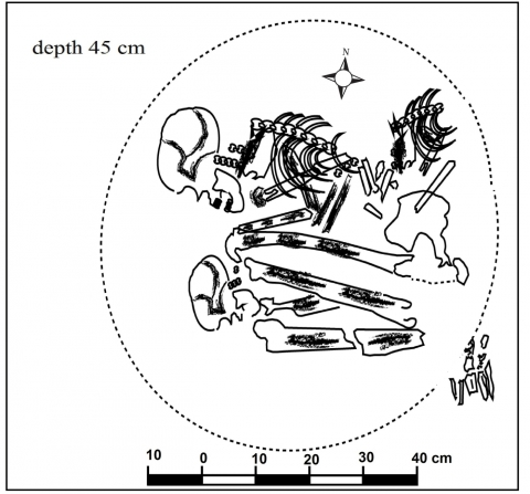 Figure 16 –A late prehistoric burial with more than one skeleton