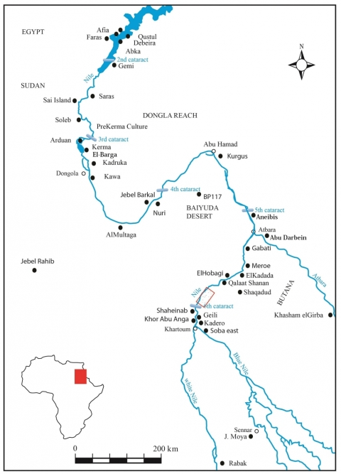Figure 1 – Main Late Prehistoric sites in the Sudan