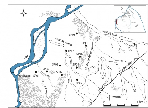 Figure 2 – Archaeological sites in the southern part of Sabaloka province