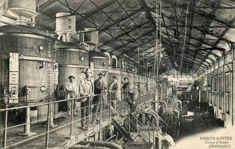 Figure 7: Sugar factory of Darboussier at Pointe-à-Pître, Guadeloupe, erected by Cail in 1868, interior view dating from the late nineteenth century.