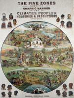 A nineteenth-century representation of the earth that shows the prevailing geographical-determinist view that conflated racial distribution and industrial development with climatic variation