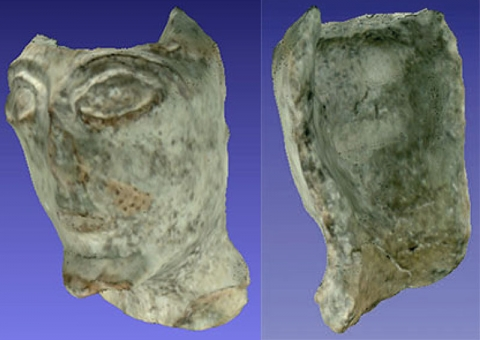 Fig. 3, Fig. 4–Frontal and back view merged 3D image of a head from a terracotta Frontal and back view statuette, AAP-AM-3600