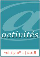 Activités vol. 15 - nº1 - Couverture