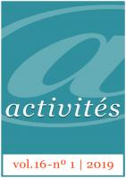 Activités vol. 16 - nº1, 2019 - Couverture