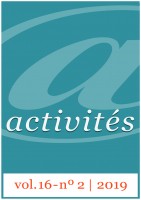 Activités, v16n2, 2019. Couverture