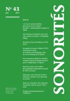 Couverture de Sonorités. Bulletin de l'Association française des archives sonores, orales et audiovisuelles, n° 43