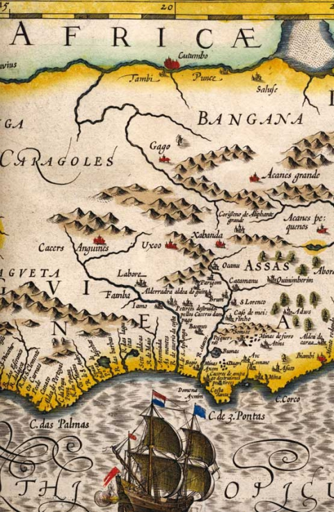 Map 1: Map Detail <em> Guineae Nova Descriptio </ em>, prepared by Jodocus Hondius atlas for the Mercator (which will be discussed later)