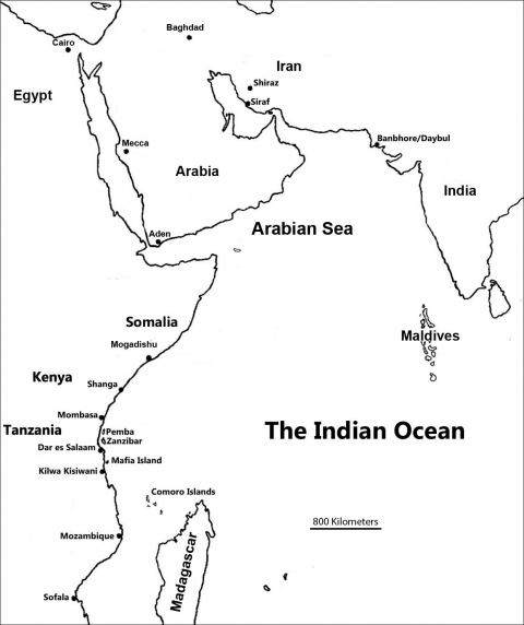 Figure 1: Map of the Indian Ocean with relevant places