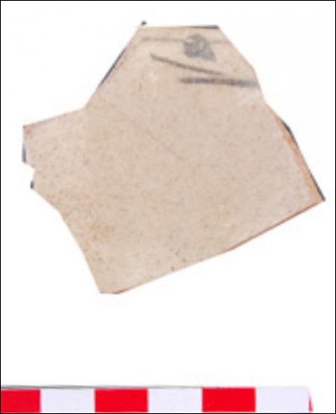 Figure 26: Rim sherd from a bowl, brown colour stoneware paste, iron painted pattern on the well near the rim under ivory-creamy glaze