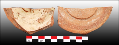 Figure 28: Base sherd of dish, red eathernware recovered by opaque tin-glaze