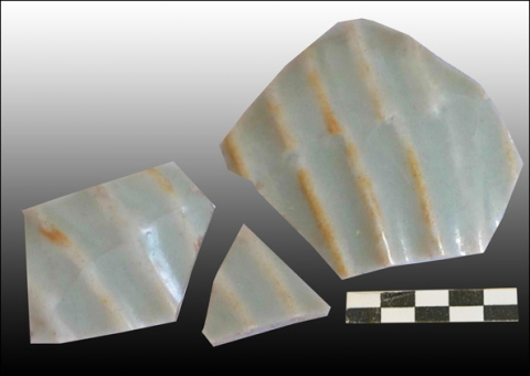 Figure 30: Three sherds from the same ewer, green-glazed stoneware