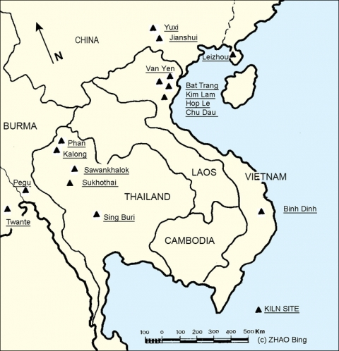 Figure 35: Main kiln sites located in South-East mainland that might have provided West Asia and Africa