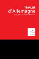 Couverture de Revue d'Allemagne, n° 51-1, 2019