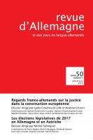 Couverture de Revue d'Allemagne, n° 50-1, 2018