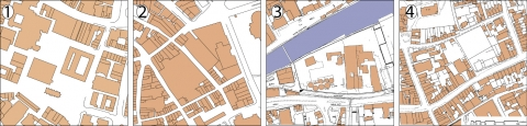 Illustration 2: Site area of case studies numbers 1-4 before redevelopment