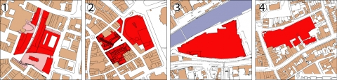 Illustration 3: Site area of case studies numbers 1-4 after redevelopment, highlighted in red