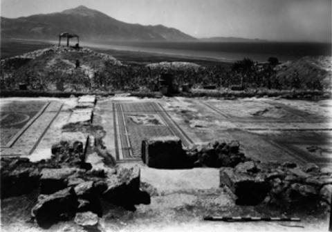 4. Seleucia Pieria, House of the Drinking Contest, overview with mosaics in situ, 1939 (Antioch Excavation Archives, negative no. 5274)