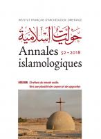 Couverture Annales islamologiques, 52   2018