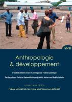 Couverture Anthropologie & développement n°48-49, 2018