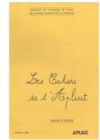 Les cahiers de l'Apliut 1980-1989