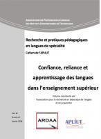 Confiance, reliance et apprentissage des langues dans l'enseignement supérieur - page de garde