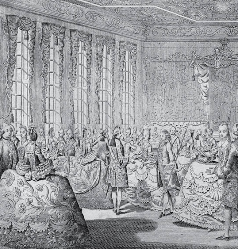 Fig. 2 - The Court at St. James's, c. 1766, etching with engraving : 17 × 16 cm. Yale University, The Lewis Walpole Library, inv. 766.00.00.12. Few images of the eighteenth-century English court survive. This engraving of 1766 is a rare illustration of a court drawing room. It pays particular attention to both the finery of clothing on display and the cramped accommodation detailed in contemporary letters. Note the canopied throne for the monarch in the background.