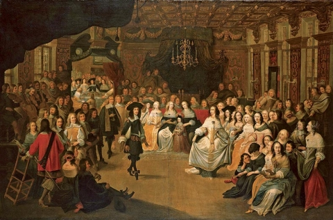 Fig. 1 - Hieronymus Janssens, Charles II Dancing at a Ball at Court, c. 1660, oil on canvas : 140 × 214 cm. London, The Royal Collection, RCIN 00525.