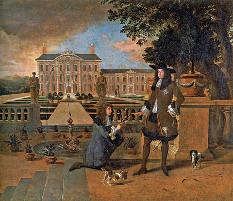 Fig. 2 - Thomas Hewart after Hendrik Danckerts, John Rose, the Royal Gardener, Presenting a Pineapple to King Charles II, c. 1676, oil on canvas : 113 × 120 cm. London, The National Trust, Ham House and Gardens, inv. 1139824.