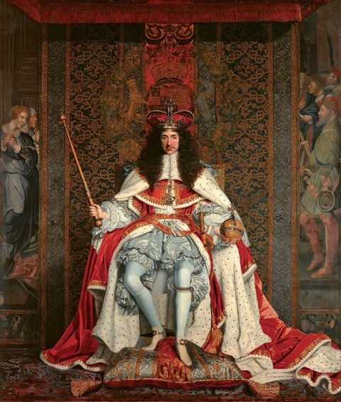 Fig. 3 - John Michael Wright, Charles II, c. 1661-66, oil on canvas : 281.9 × 239.2 cm. London, The Royal Collection, RCIN 404951.