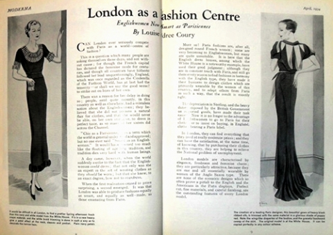 Image 10. Moderna magazine, April 1934 promotes 'London as a Fashion Centre' with 'Englishwomen Now as Smart as Parisiennes