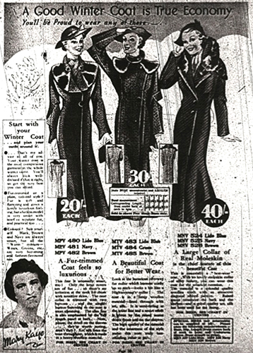 Fig. 4. Littlewoods mail order catalogue. Autumn 1936. Where a 'respectable' version of Joyce's coat could be purchased
