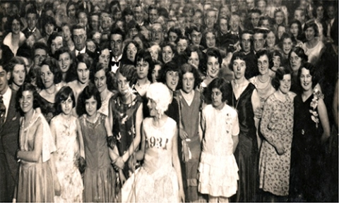 Fig. 5. 1931 dancehall crowd. New Year's eve dance. Postcard backed photograph from Lytham St. Anne's, Blackpool