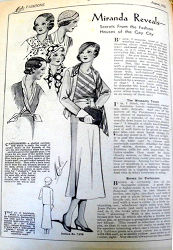 Image 9. Mabs magazine promotes 'Secrets from the fashion Houses of the Gay City' and the influence of Paris on a working-class young woman's wardrobe choices. August 1932