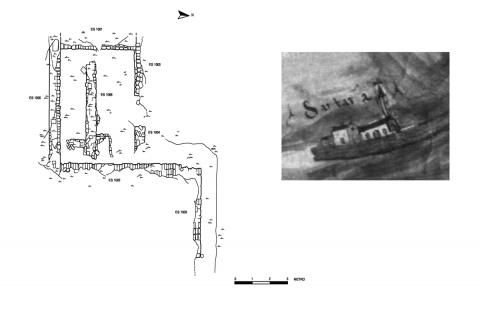 Figure 2: Map of archaeological features at S. Ariano/St. Hadrian (drawing by C. M. Acqua, E. Cappelletto, V. Goti Vola) with detail of the same monastery as depicted in a map dating to 1572.