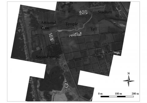 Figure 1: Satellite view (Google) of the site of Amrith with the location of main monuments and magnetic surveys.