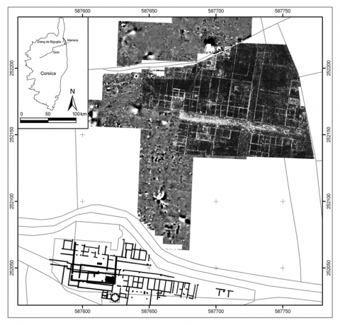 Figure 1: Results of the 2008 GPR survey (depth-slice 0.80-0.85 m), overlying the results of the 2006 fluxgate gradiometer survey. The results from the excavations around the Canonica are indicated in black.