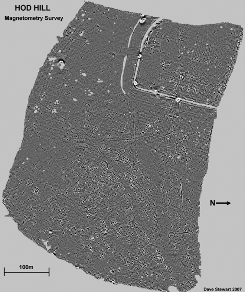 Figure 3: Existing magnetometry survey of the interior of Hod Hill Iron Age- Roman fort.