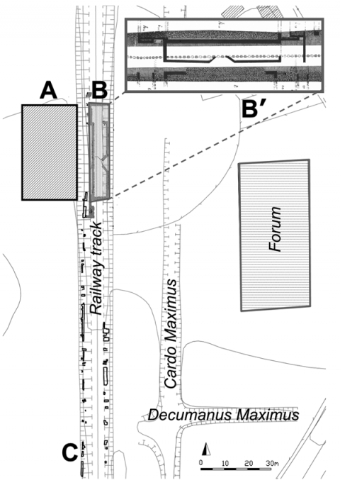 Figure 1: Localization map of the survey area (A), monumental foundations discovered in 1890 (B and B' as a detail), archaeological features visible on both sides of the railway track section (C) and public areas (Forum, Cardo Maximus and Decumanus Maximus).