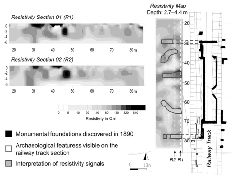 Figure 2: Results and archaeological interpretation of the OhmMapper Resistivity survey. Both in the resistivity sections (R1; R2) and in the resistivity map it is possible to detect high resistivity features that could be interpreted as monumental foundations, consistent with the characteristic of a Roman theatre.