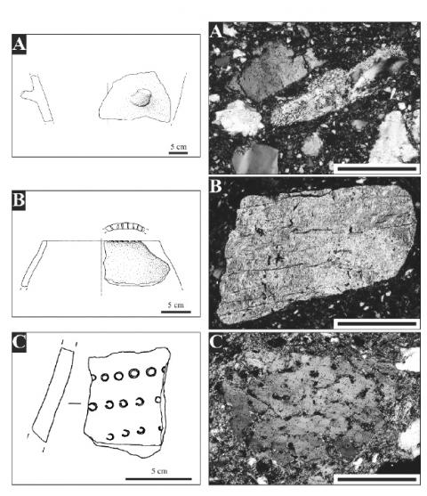 Figure 4: Drawings of some analyzed potsherds (left) and particulars of the corresponding fabrics in thin section (right) from San Sebastiano di Perti. A: body sherd of large vessel with lug; quartz-micaschist and quartzite fragments in a Fe-rich, fine grained matrix; B: rim fragment of a closed bowl; phyllite fragment; C: body sherd with impressed decoration; relict quartz grain of volcanic origin (NX, scale bar 500µm).Figure 4 : Dessins de quelques céramiques provenant de San Sebastiano di Perti (gauche) et particularités de leur pâte en lame mince (droite).
