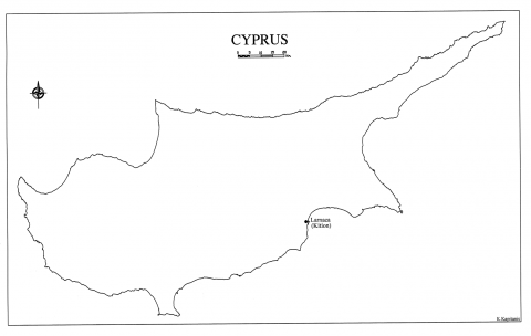 Figure 1: Map of Cyprus with the localisation of Larnaca.Figure 1 : La carte de Chypre avec la localisation de Larnaca.