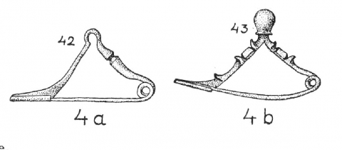 Figure 7: The elbow fibula of type 4 from Stronach (1959).Figure 7 : La fibule à l'arc coudé de type 4 de Stronach (1959).