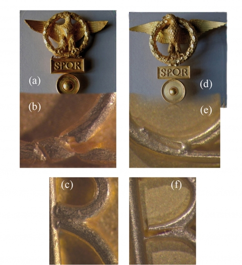 Figure 4: Details of the pair of hairpins with the imperial eagle.Figure 4 : Détails d'une paire d'épingles à cheveux avec l'aigle impériale.