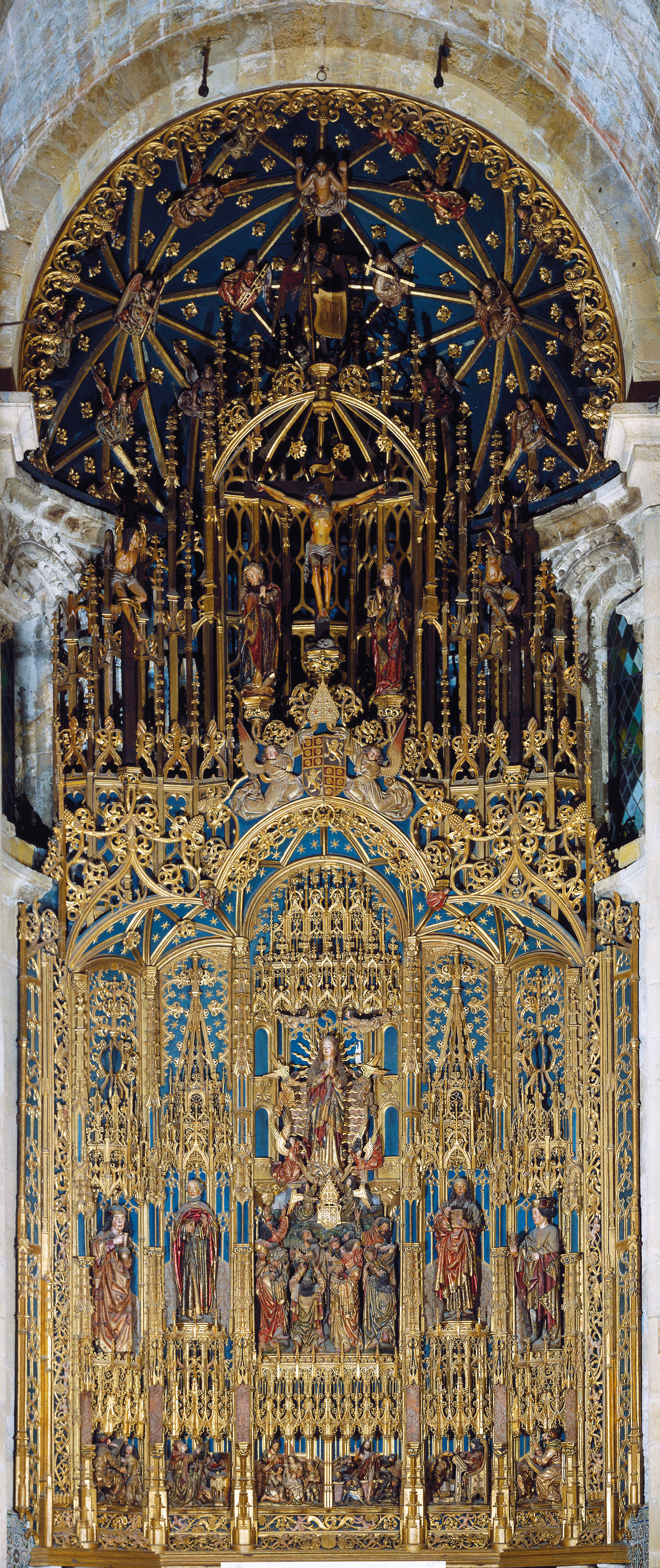 The Main Altarpiece Of Old Cathedral Coimbra Portugal