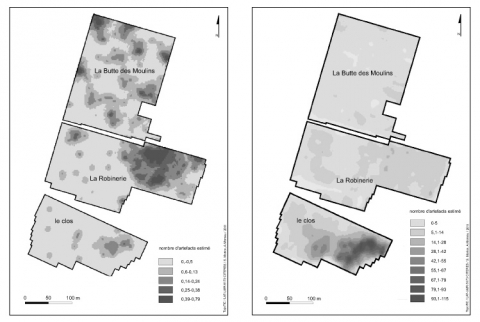 Figure 5 : Cartes de distribution spatiale des artefacts obtenue par krigeage (gauche : céramique protohistorique, droite : céramique ier-iiie siècle).Figure 5 : Spatial distribution of artifacts drown by kriging (left: protohistoric pottery; right: pottery of the 1st-3rd century)