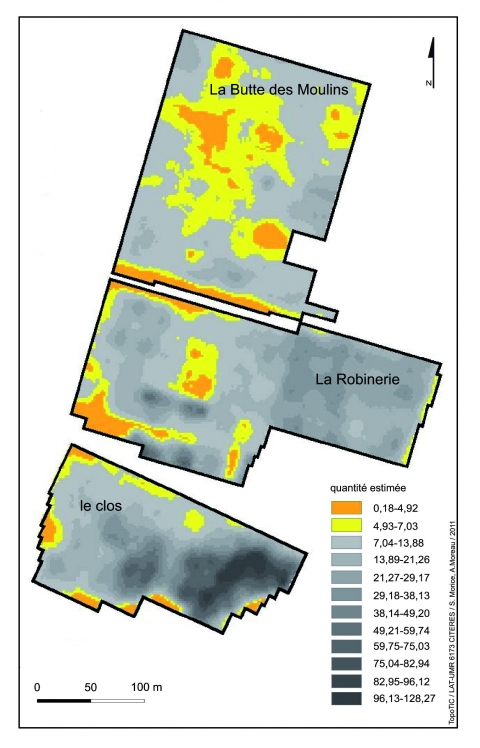 Figure 7 : Combinaison des cartes d'abondance de la céramique ier-iiie siècle, de la TCA indéterminée et de la tuile à crochet.Figure 7: Combination of the maps showing the amounts of pottery of the 1st-3rd century, building materials and modern tiles.