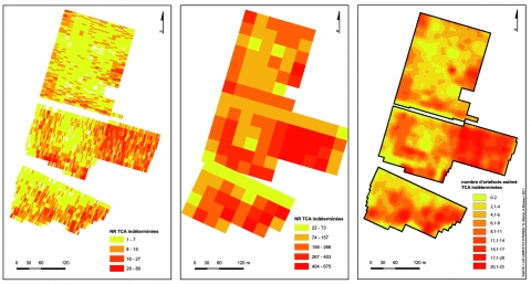 Figure 8 : Répartition des Terres Cuites Architecturales en NR par cellule (a), NR par carré (b) et après traitement géostatistique (c) Figure 8 : Distribution of building materials (number of pieces) in each « cellule » (a), each square (b) and after geostatistical analysis