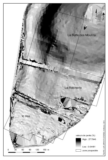 Figure 4 : Intensité de la pente, zone de prospection.Figure 4: Slope intensity, surveyed area.